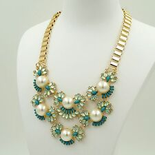 New Fashion 18K Gold GP Pearl Crystal Chain Blue Bib Statement Necklace 04765