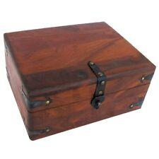Vintage Antique Wood Writing Travel Desk Set Document Case Inkwell Storage Box