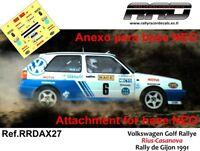 DECAL/CALCA 1/43; ANEXO Volkswagen Golf Rally; Rius-Casanova; Rally de Gijon 91