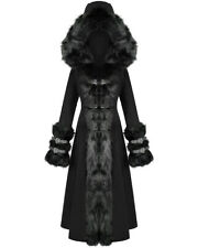 Devil Fashion Womens Long Gothic Lolita Hooded Winter Coat Jacket Black Faux Fur