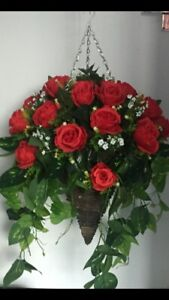 Beautiful Large Red Roses Artificial Hanging Basket In a 12inch Cone Ready To H