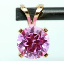 1.88ct Genuine Pink Sapphire 14K 14KT Solid Yellow Gold Pendant FREE SHIPPING