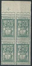 1921 REGNO DANTE 25 CENT QUARTINA MNH ** - T108