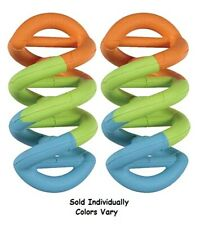 DNA Dogs In Action Colorful Toy Twisted Tough Rubber Fetch Chew Tug Colors Vary