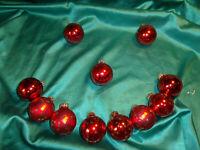~ 11 alte Christbaumkugeln Glas rot gold Sterne Vintage Weihnachtskugeln CBS ~