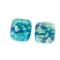 Murano Glass Stud Earrings Blue Green Gold Coloured Millefiori Handmade Venice
