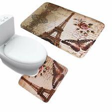 2 Piece Bathroom Mat Set Paris Brown Eiffel Tower Non Slip Bath Mat Contour Mat