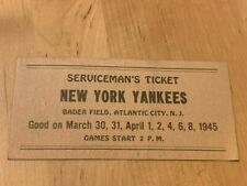 1945 New York Yankees Serviceman's Ticket
