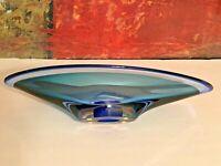 """Kosta Boda Blue Studio Art Glass Zoom Bowl Center Piece Signed Goran Warff 14"""""""