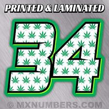 MX Number Plate Decals Sticker Pot Leaf Marijuana Motorcycle SX Bike Kart ATV