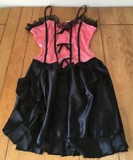Pink Black Burlesque Dress Costume Moulin Rouge Can Can Saloon Diva Size 10-12