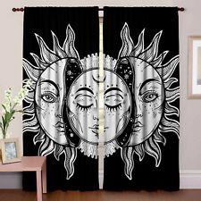 Sun Moon Mandala Curtains Indian Black & White Hippie Door Valances Window Set