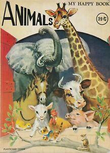 Animals My Happy Book Vintage Board Book 1960's Doeisha Japan