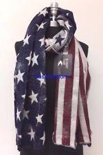New Fashion Large Thick Soft Warm Wrap Shawl USA Flag Long Scarf Stole Navy