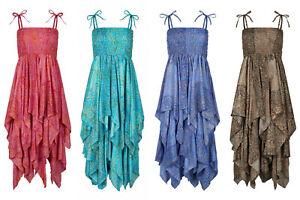 Long Pixie Dress Handkerchief Hem Silky dress