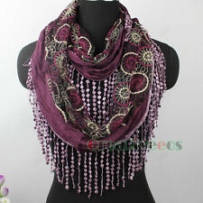 Women Circle Pattern Embroidery Lace With Tassel Stitching Infinity Cowl Scarf