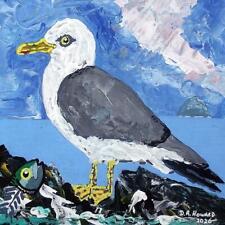 Pescado cena Ailsa Craig Seagull Original Pintura al Óleo escocés por David R Howard
