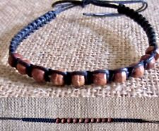 Adjustable Bracelet surfer boho mens womens Anklet Wood Beads Black Cotton Cord