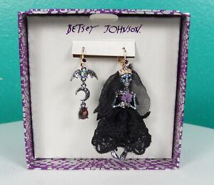 Authentic Betsey Johnson Dark Magic Mismatch Bat Moon Skeleton Bride Earrings