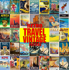 Vintage Travel Posters Wall Art Deco Retro Prints Posters Classic Holiday Travel