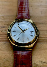 Vintage Men's SWATCH 1999 Gold Plated Case, Swiss Made Quartz, Leather Strap