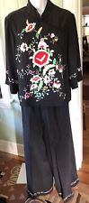 SUE WONG Vintage 90s Asian Black Floral Embroidered Pure Silk 2 Piece Pant Suit