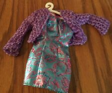 Barbie doll clothes Blue dress with design and purple sweater with barbie hanger