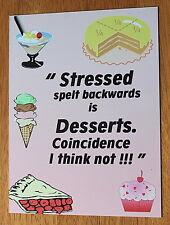 Retro Stressed spelt backwards desserts metal wall sign lightweight easy hung