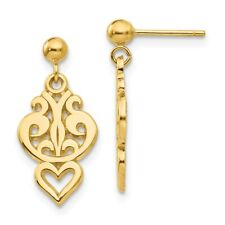 Small Filigree Heart Dangle Post Earrings in 14k Yellow Gold