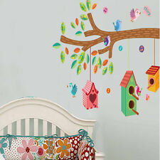 Lovely Birds Chirp On The Tree Branch Birds House Wall Stickers For Childern