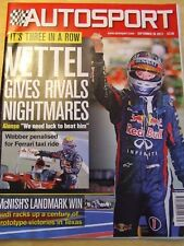 AUTOSPORT MAGAZINE SEP  2013 VETTEL GIVES RIVALS NIGHTMARES ALONSO WEBBER TAXI