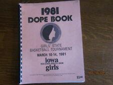 1981 Iowa High School Girls State Basketball Championship Dope Book