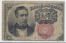1874 Us Civil War Fractional Currency, 10 Cents - 5th Issue, Short Key Fr 1266*