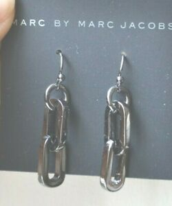 MARC by MARC JACOBS Hematite Chain Design 2 inch long Earrings Silver New $68