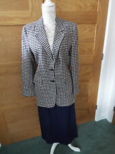 AUSTIN REED NAVY BLUE CHECK JACKET WITH TWO SKIRTS (54% SILK/46% WOOL) - SIZE 10
