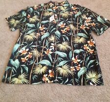 Island Shores Short Sleeve HAWAIIAN Shirt MENS L 100% Rayon Black/Orange/F.  NWT
