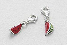 Solid Sterling Silver Enamel Watermelon Slice Charm Bracelet Pendant Necklace