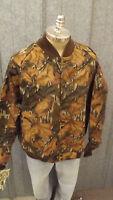 Vtg NEW Mossy Oak Fall Foliage Camo Jacket  Sz LARGE USA Made Cotton Chamois NOS