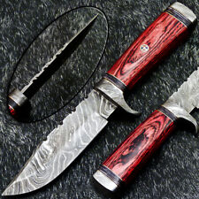 """Authentic HAND FORGED DAMASCUS 10"""" HUNTING KNIFE - HARD WOOD HANDLE WD-6466"""