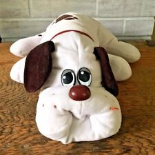 "Pound Puppies White Brown Spots Puppy Dog Plush Stuffed Toy Large 18"" Vtg 1980's"