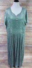 Silhouettes Full Length Dress Crochet Beaded Detail Mint Green Plus Size 2X NWT
