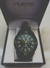 Kenneth Cole Unlisted Men's Watch Round Black Dial on Black Rubber Band Quality!