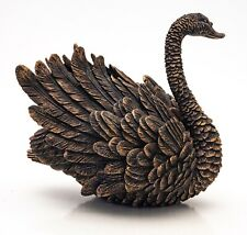 More details for beautiful stylised figurine of a golden swan, faux bronze, incredible detail