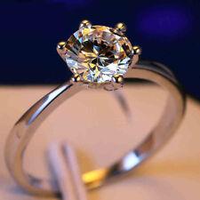 Ladies Solitär Ring 925er Sterling Silber+Zirkonia AAA+585 Weißgold vergoldet