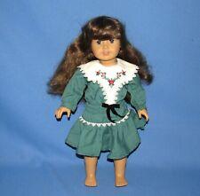 2008 AMERICAN GIRL LLC DOLL w/ BROWN HAIR BLUE EYES & GREEN DRESS WITH ROSES