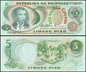 PHILIPPINES 5 PISO 1969 UNC A.BONIFACIO IN GREEN AT LEFT,CENTRAL BANK SEAL TYPE