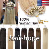 Silicone Lined Micro Ring Loop Beads Tip Remy Human Hair Extensions 7A 100S/200S