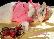 Sugar Says Fat Cat Feline Model, Inspirational Encourage Greeting Card Tea Party