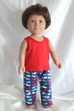 T-Shirt Pajamas fits 18inch American Girl Boy Doll Clothes Tank Top Pants Whales