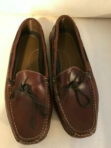 LL Bean Mens 11 D Brown All Leather Moccasin Double-Sole Slippers Leather-Lined